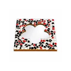 Cristallo Mosaikbastelset Spiegel Blume Rot-Schwarz-Weiss
