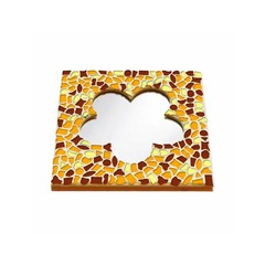Cristallo Mosaikbastelset Spiegel Blume Braun-Orange-Gelb
