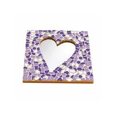 Cristallo Mosaikbastelset Spiegel Herz Weiss-Lila-Violett