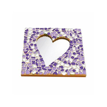 Cristallo Mosaik Bastelset Spiegel Herz Weiss-Lila-Violett