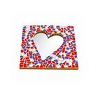 Cristallo Mosaikbastelset Spiegel Herz Rot-Weiss-Lila