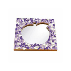 Cristallo Mosaikbastelset Spiegel Apfel Weiss-Lila-Violett