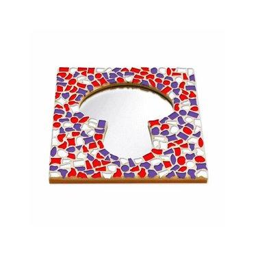 Cristallo Mosaik Bastelset Spiegel Erdschwamm Rot-Weiss-Lila