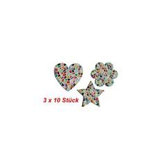 Cristallo Herz / Blume / Stern 3x10 Stück Mosaikbastelset MIX