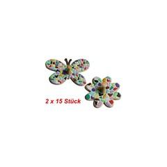 Cristallo Kleiderbügel Schmetterling / Blume 2x15 Stück Mosaikbastelset MIX