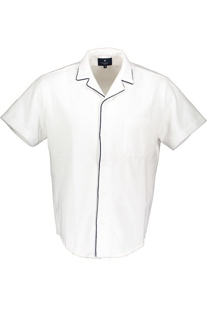 Men's short sleeve shirt Terry Towel Fabric White
