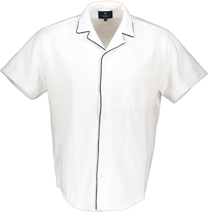 Men's short sleeve shirt Terry Towel Fabric White-1