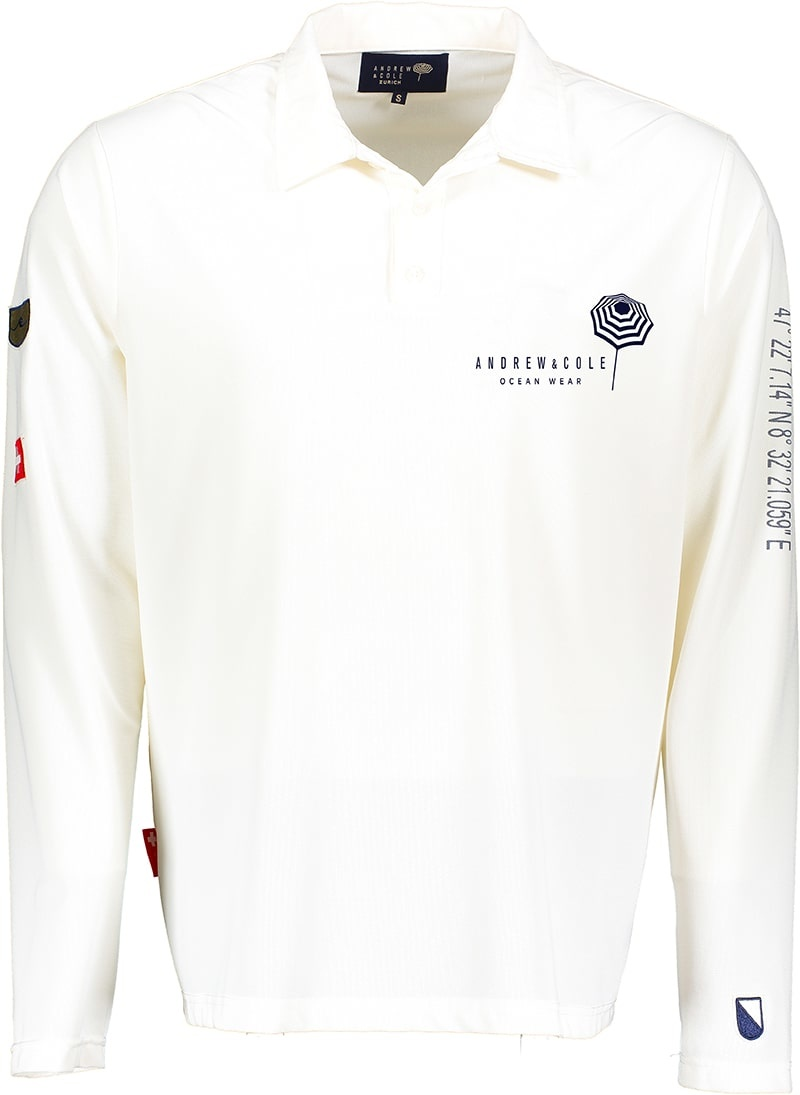Men's UV Longsleeve  collar shirt white (ZURICH EDITION)-1