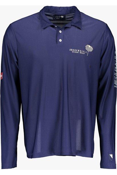 Men's UV Longsleeve  Collar-shirt blue (ZURICH EDITION)