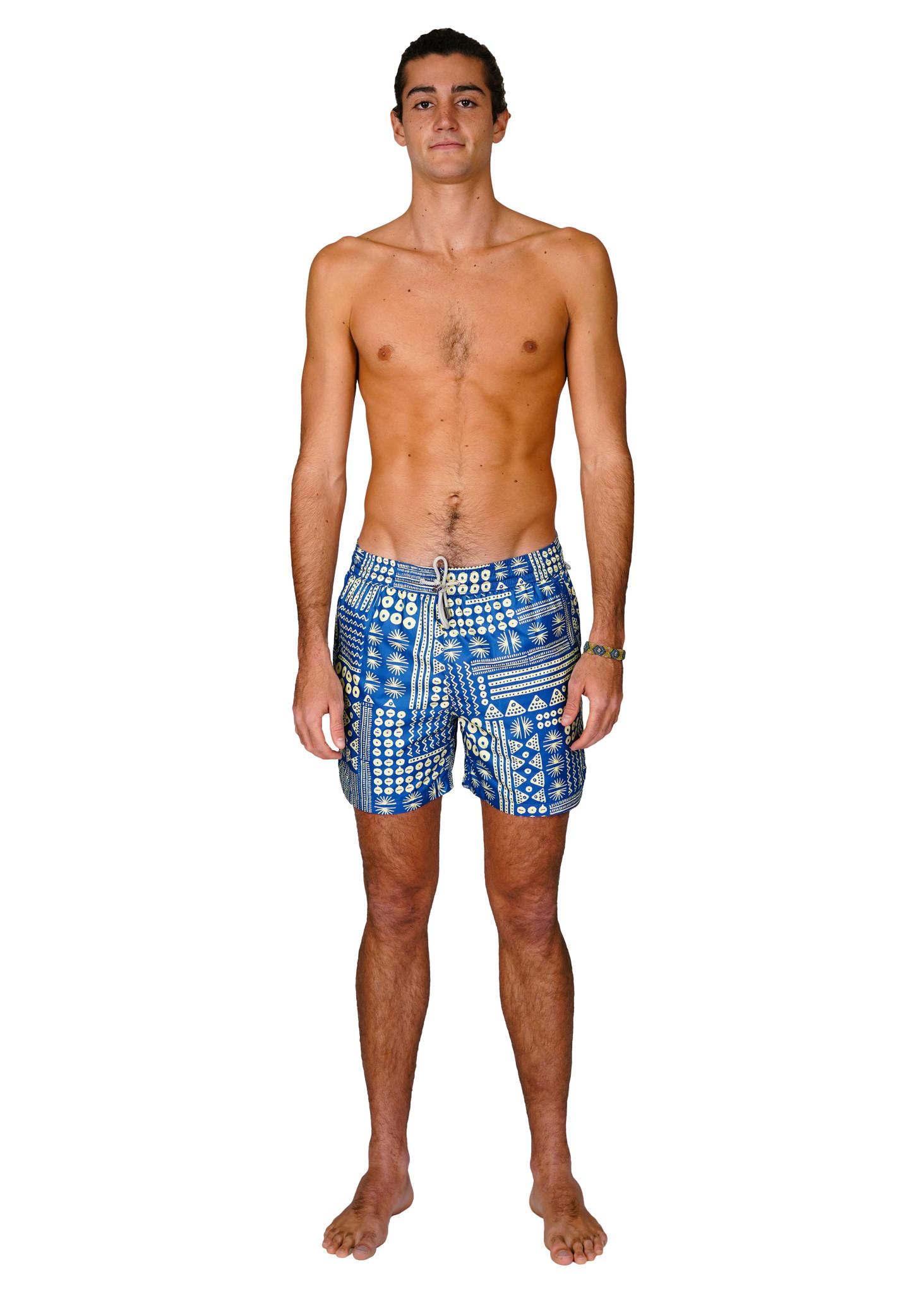 Badehose Herren Muster Blau-1