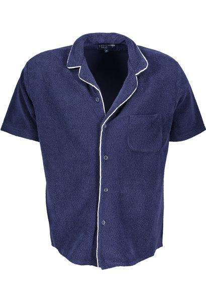 Men's short sleeve Shirt Terry Towel Fabric Blue