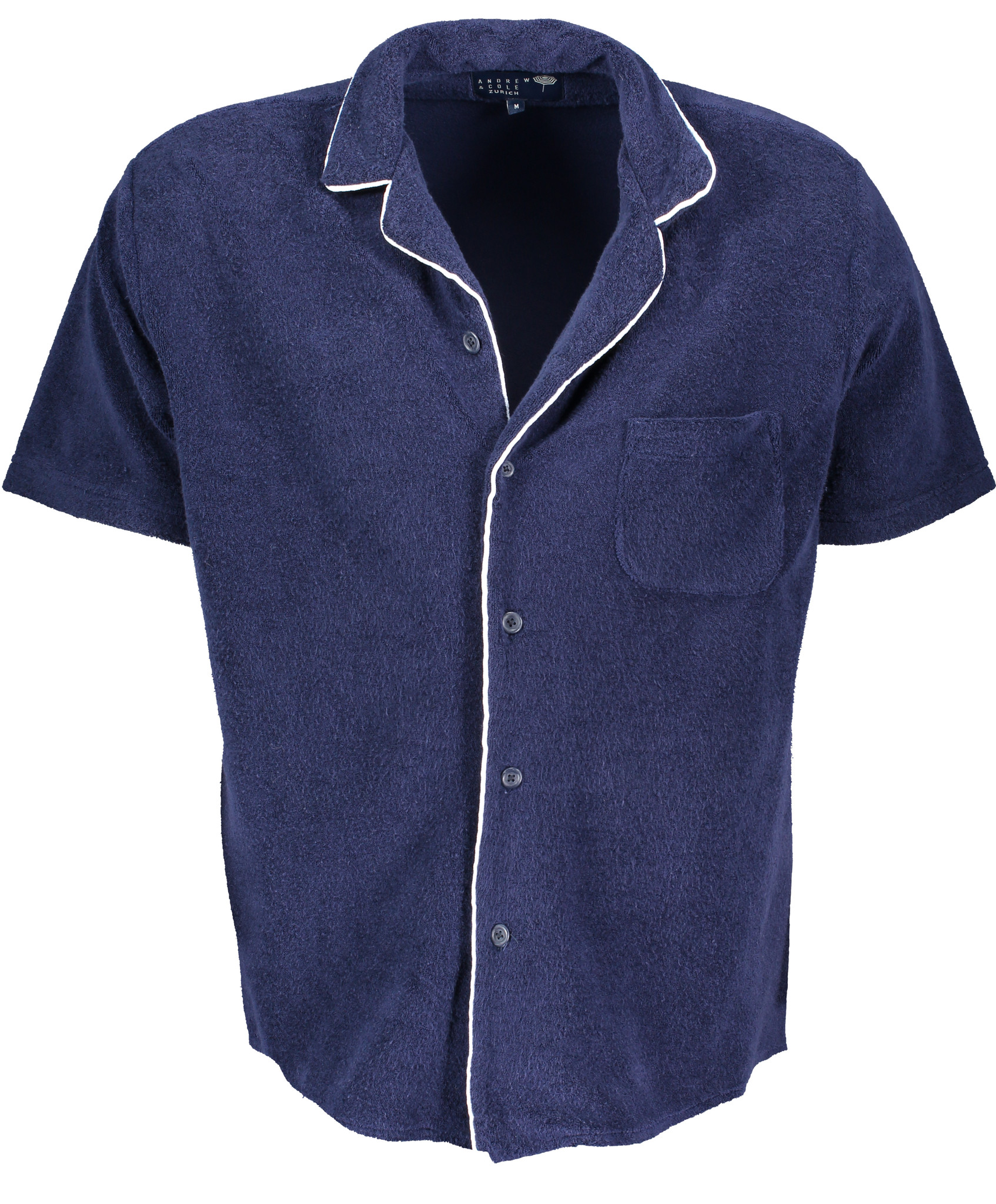 Men's short sleeve Shirt Terry Towel Fabric Blue-2