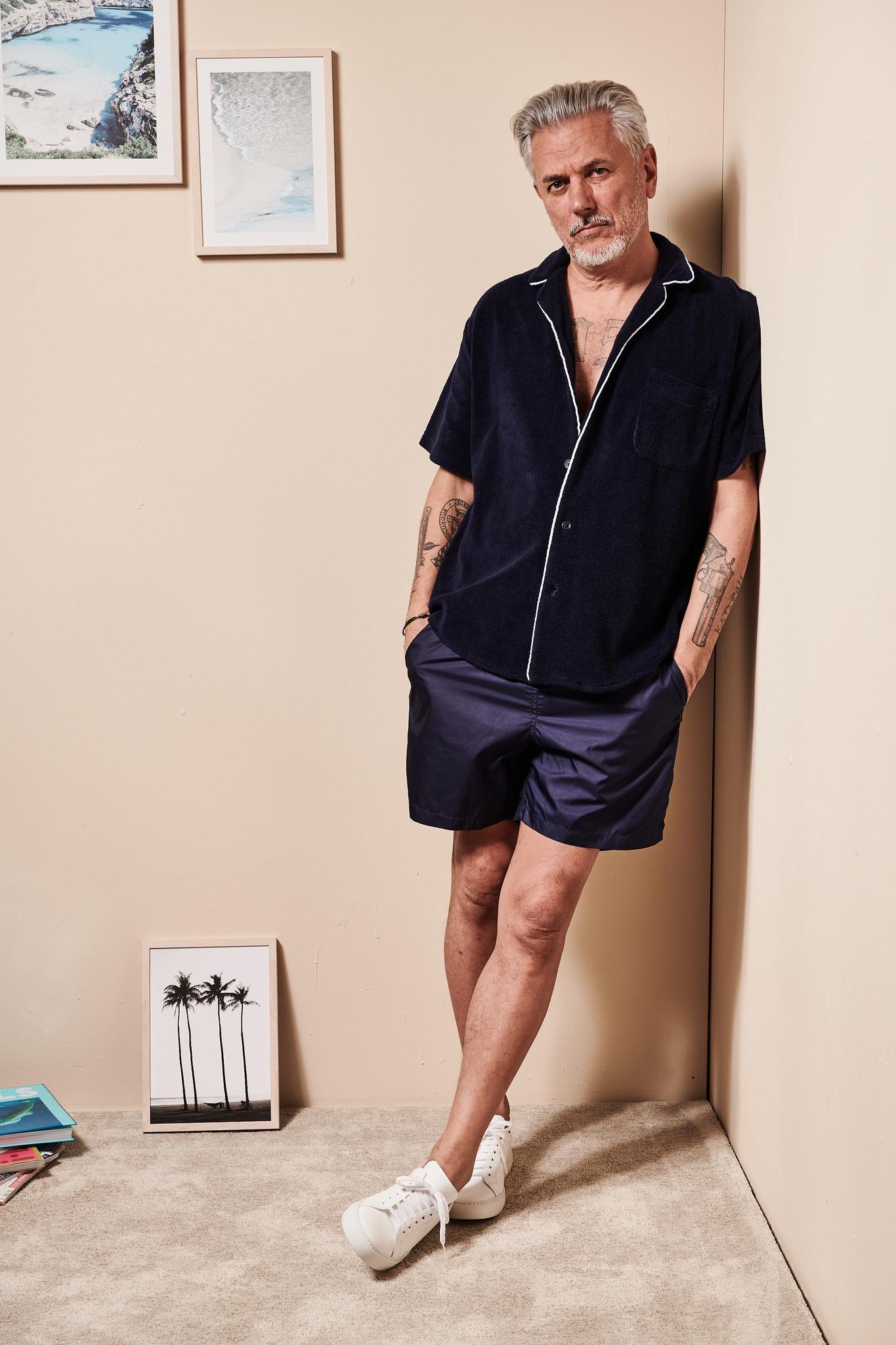 Men's short sleeve Shirt Terry Towel Fabric Blue-2
