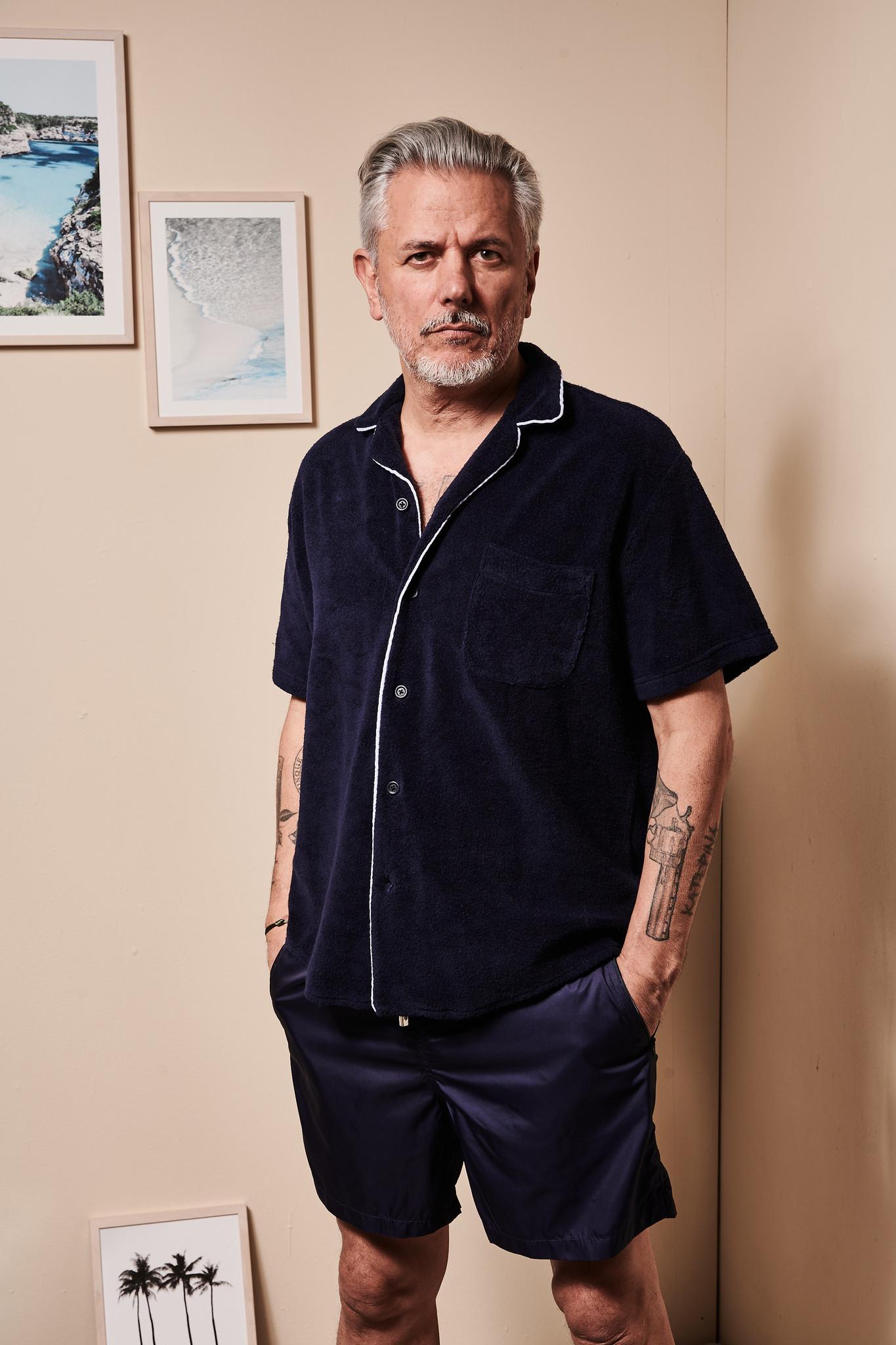 Men's short sleeve Shirt Terry Towel Fabric Blue-1