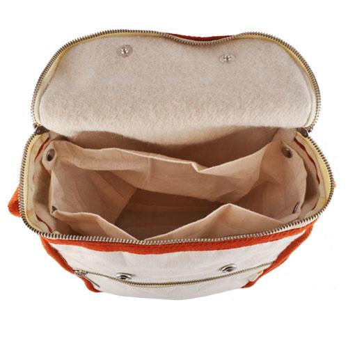 Sac à lunch naturel isolé en laine - bordure orange