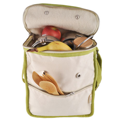 Wool Insulated Natural Lunch Bag - Olive Trim
