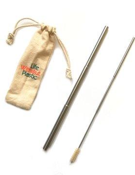 Paille rétractable en acier inoxydable avec brosse et manchon - 12 unités