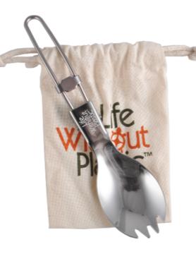 Spork pliante en acier inoxydable avec pochette en coton biologique - Boite de 12