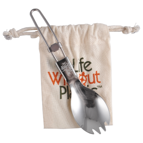 Stainless Steel Folding Spork with Organic Cotton Pouch - Case of 12