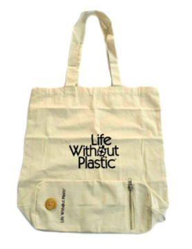 Organic Cotton Flat-Bottom Compact Shopping Bag - Wood Button Closure