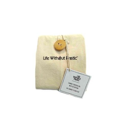 Organic Cotton Flat-Bottom Compact Shopping Bag - Wood Button Closure