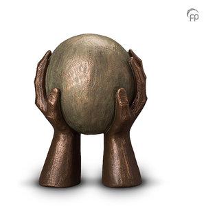 UGK 008 B Keramische urn brons Gedragen