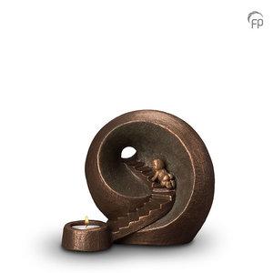 UGK 010 AT Keramische urn brons Oneindige tunnel (waxine)
