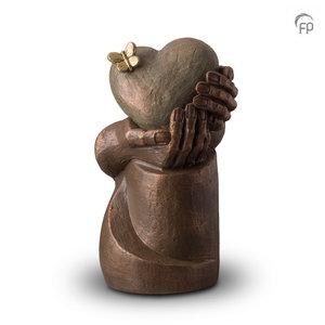 UGK 065 B Keramische urn brons Hartepijn op zuil