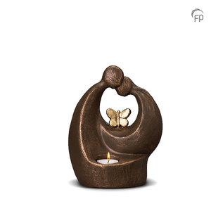 UGK 046 AT Keramische urn brons Verlichte troost vlinder