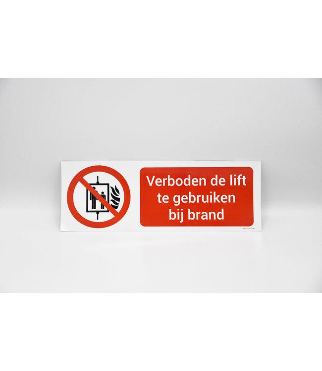 Certeso Pictogram verboden de lift te gebruiken bij brand