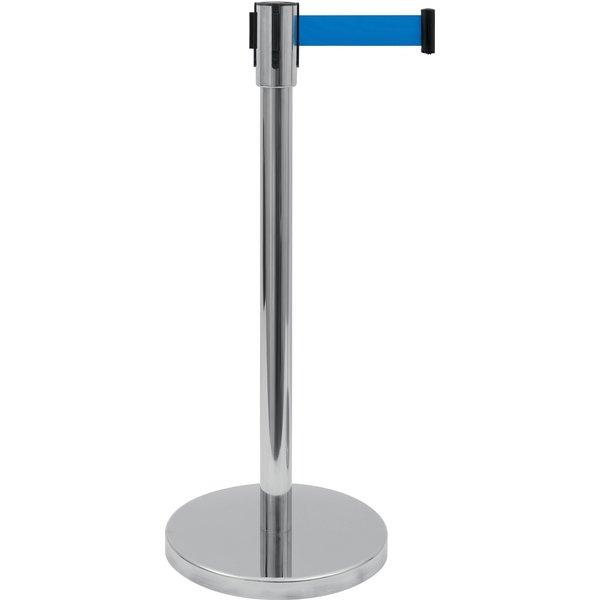 Saro RVS Afzetpaal en Blauwe  Band | 180 cm. | Ø 360 x H 915 mm.