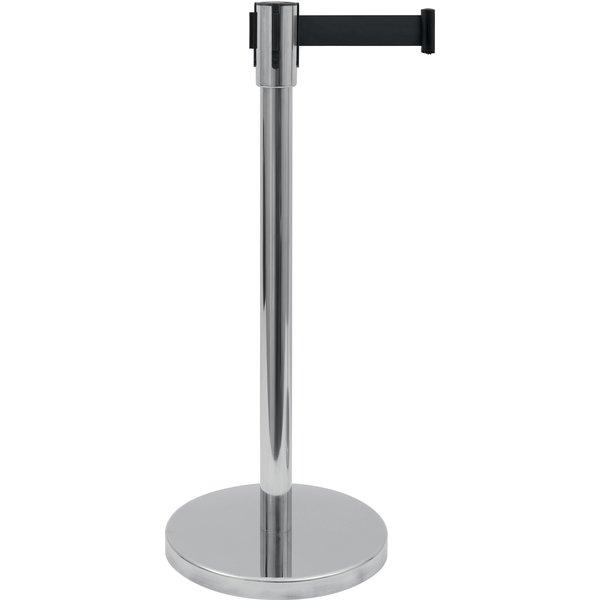 Saro Afzetpaal en Zwarte Band RVS | Lengte 180 cm. | Ø 360 x H 915 mm.