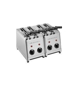Milan Toast Broodrooster Tosti-apparaat met 4 Sleuven  | Incl. 4 Tangen | 3600Watt