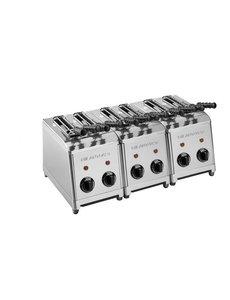 Milan Toast Broodrooster Tosti-apparaat met 6 Sleuven  | Incl. 6 Tangen | 3600Watt