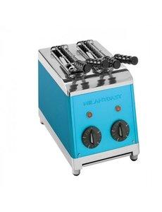 Milan Toast Broodrooster Tosti-apparaat met 2 Sleuven | Incl. 2 Tangen | Blauw |  1300W