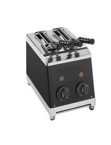 Milan Toast Broodrooster Tosti-apparaat met 2 Sleuven | Incl. 2 Tangen | Zwart |  1300W