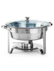 Hendi Chafing Dish Rond | Met glazen deksel | ø390x(h)270mm | 3,5 Liter