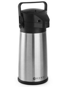 Hendi Pompkan met Druksysteem RVS | Inhoud 2,2 Liter | Koude en Warme Dranken