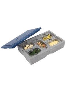 Eurobox Warmhoudbox met blauw deksel 5-vaks GN1/9 - 65mm |505x310xH125mm