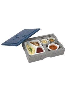 Eurobox Warmhoudbox met blauw deksel 4-vaks | 405x302xH105mm
