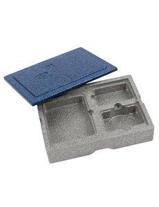 Eurobox Warmhoudbox met blauw deksel 3-vaks | 405x302xH105mm