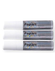 Hendi Krijtstiften met Platte Brede Punt   Schrijfbreedte 15mm Wit   Per 3 stuks