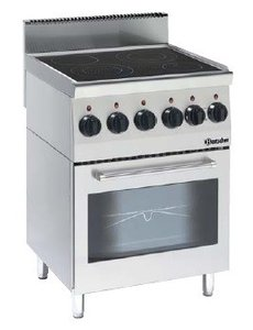 Bartscher Keramisch Fornuis met 4 kookzones en Elektrische Oven | 400V/10.2kW | B 600 x D 600 x H 900 mm