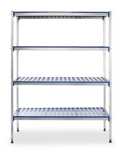 Hendi Aluminium Opbergrek met Polypropyleen Planken | 1280x405xH1685mm.