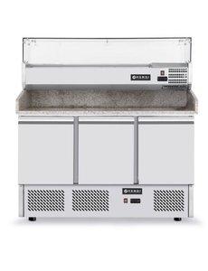 Hendi Koelwerkbank Pizza Saladette met 3 Deuren | 380+40 Liter |  1405x700x(h)1285 mm.