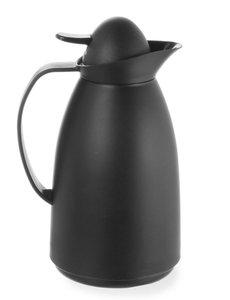 Hendi Thermoskan met Glazen Binnenfles | Zwart | 1 Liter | Ø14x(h)27cm