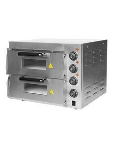 CaterChef Pizzaoven met 2 Etages | 230V/3kW | 50°C-350°C | Intern 2x 40x40 cm.