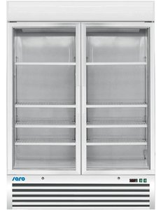 Saro Vrieskast met 2 Glasdeuren Wit  | Ventilator | 1078 Liter |  -18 / -24 °C | B1370xD700xH1985mm