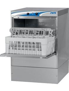 Saro Glazenspoelmachine met Afvoerpomp en Naglanspomp | Korven 40x40 cm. | Model FREIBURG | 230V /2.8kW