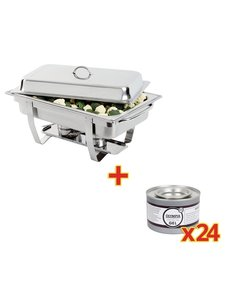 Olympia Chafing Dish met 24 Brandpasta | GN 1/1 | 9 Liter